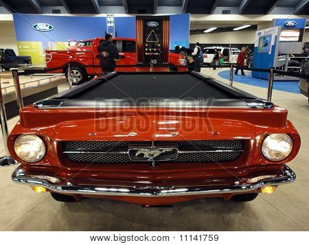 Ford Mustang Turned Into A Pool Table On Display