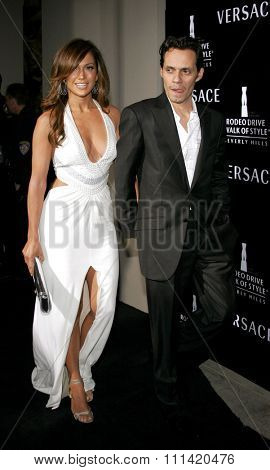 Jennifer Lopez and Marc Anthony attend the Rodeo Drive Walk Of Style Award honoring Gianni and Donatella Versace held at the Beverly Hills City Hall in Beverly Hills, California on February 8, 2007.