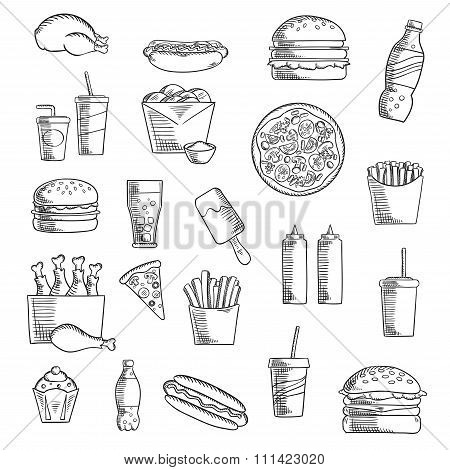 Fast and takeaway food sketched icons