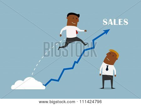 Businessman with a growing sales chart
