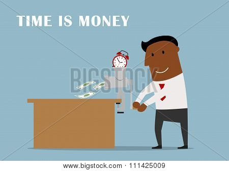 Businessman making money from a time