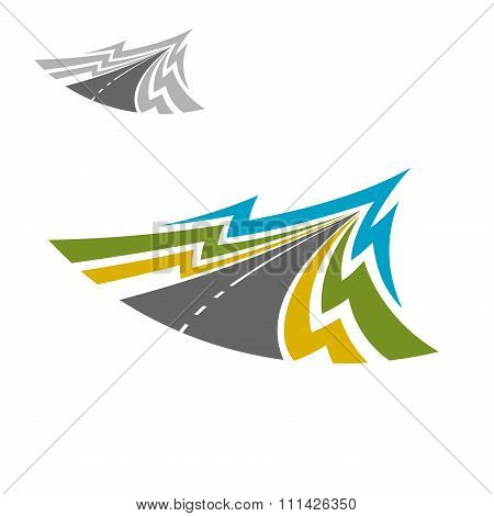 Modern highway road abstract icon
