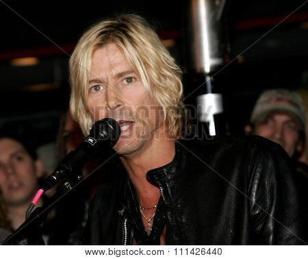 January 17, 2007. Duff McKagan giving a speech to Slash, who is inducted into Hollywood's RockWalk held at the Guitar Center Hollywood's RockWalk in Hollywood, California United States.