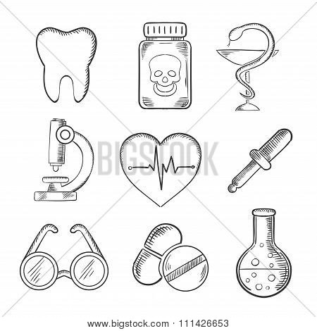 Medical and healthcare sketched icons