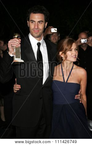 Sacha Baron Cohen and Isla Fisher at the Paramount Pictures Hosts 2007 Golden Globe Award After-Party held at the Beverly Hilton Hotel in Beverly Hills on January 15, 2007.
