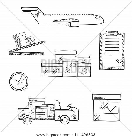 Air cargo and logistics business sketched icons