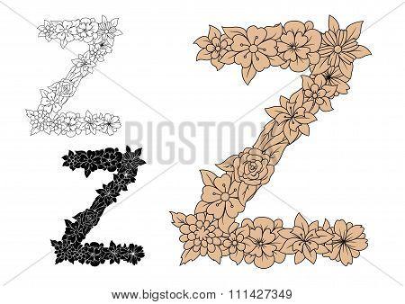 Vintage elegant floral capital letter Z