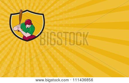 Business Card Baseball Player Batting Shield Cartoon