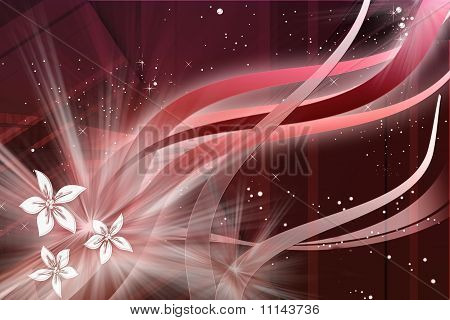 space flowers in red and white
