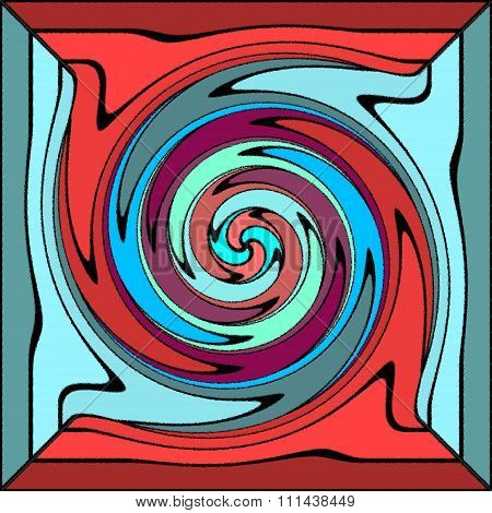Blue red turquoise psychedelic spiral