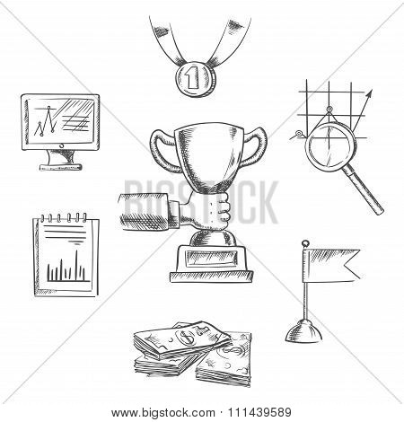 Sketch of business, achievment and success symbols
