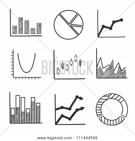 Sketch style icons of business charts and graphs