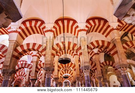 Arches Pillars Mezquita Cordoba Spain