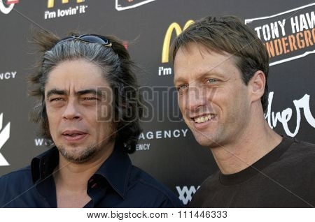 Benicio Del Toro and Tony Hawk at the Standup For Skateparks benefit held at Pinz Bowling Alley in Studio City, California on October 3, 2004.