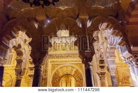 Mihrab Moslem Islam Prayer Niche Chapel Arches Mezquita Cordoba Spain
