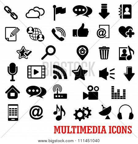 Multimedia and web social media icons