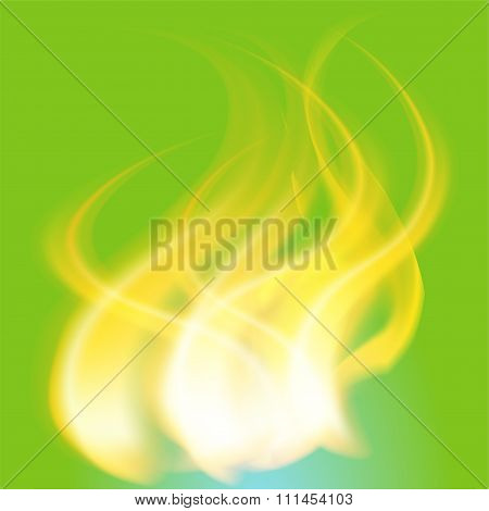 Fire Flames on the green background