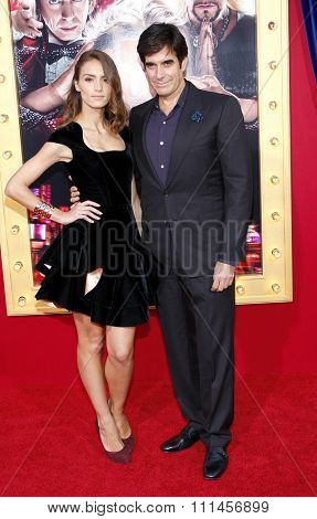 David Copperfield and Chloe Gosselin at the Los Angeles premiere of 'The Incredible Burt Wonderstone' held at the TCL Chinese Theater in Los Angeles, United States, 11/03/2013.
