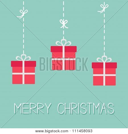 Hanging Giftboxes. Dash Line With Bow. Merry Christmas. Flat Design. Blue Background.