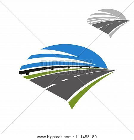 Icon of freeway road under blue sky
