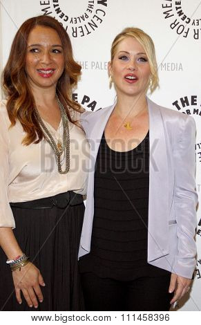 Christina Applegate and Maya Rudolph at the Paley Center For Media Presents An Evening With 'Up All Night' held at the Paley Center for Media in Beverly Hills on May 8, 2012.