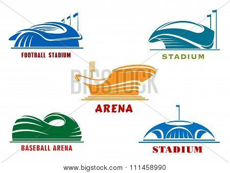 Icons of modern sport stadiums and arenas