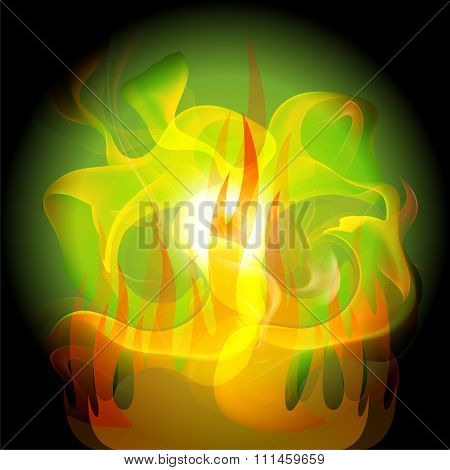 Fire yellow abstract dark green background