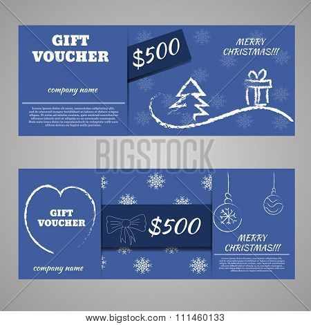 Blue Christmas And New Year Gift Voucher Certificate Coupon Template. Can Be Use For Business Shoppi