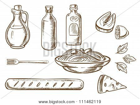 Sketch of talian pasta with ingredients