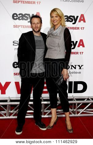 Jenna Elfman and Bodhi Elfman at the Los Angeles premiere of 'Easy A' held at the Grauman's Chinese Theater in Hollywood on September 13, 2010.