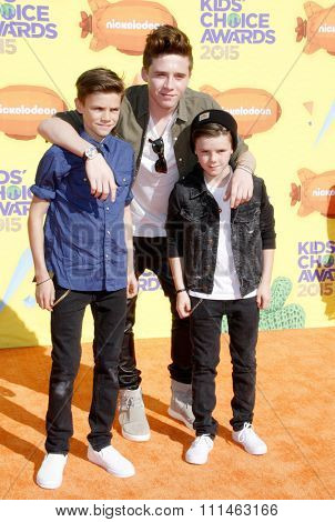 Brooklyn Beckham, Romeo Beckham and Cruz Beckham at the Nickelodeon's 28th Annual Kids' Choice Awards held at the Forum in Inglewood, USA on March 28, 2015.