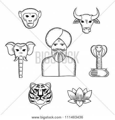 Indian nature and national symbols icons