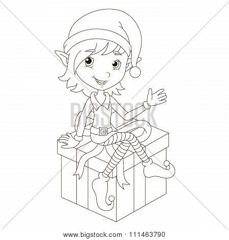 Cute Christmas elf sitting on gift