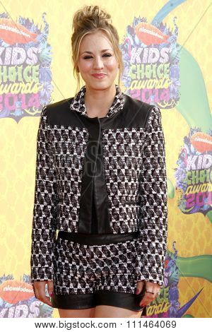 Kaley Cuoco at the Nickelodeon's 27th Annual Kids' Choice Awards held at the USC Galen Center in Los Angeles on March 29, 2014 in Los Angeles, California.
