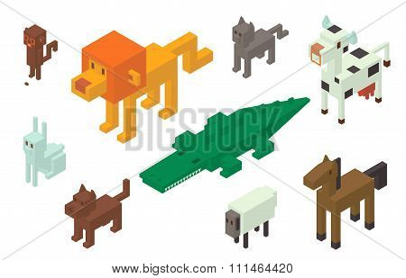 Animal vector 3d isometric icons collection