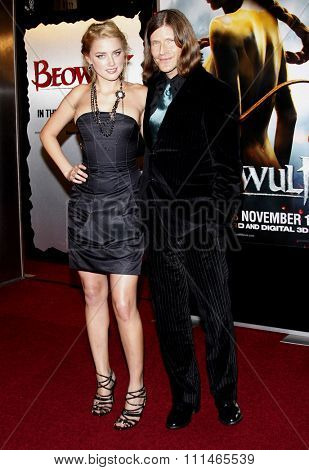 Amber Heard and Crispin Glover attend the Los Angeles Premiere of