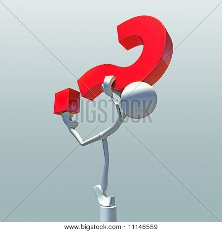 3D Question Mark With Character
