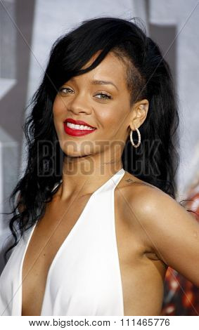 Rihanna at the Los Angeles premiere of 'Battleship' held at the Nokia Theatre L.A. Live in Los Angeles on May 10, 2012.