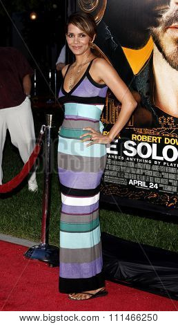 Halle Berry at the Los Angeles premiere of 'The Soloist' held at the Paramount Studios Theatre in Hollywood on April 20, 2009.