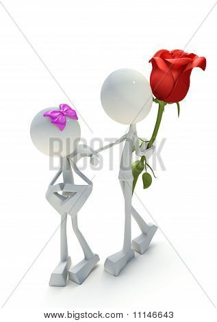 3D Character Giving Away Rose