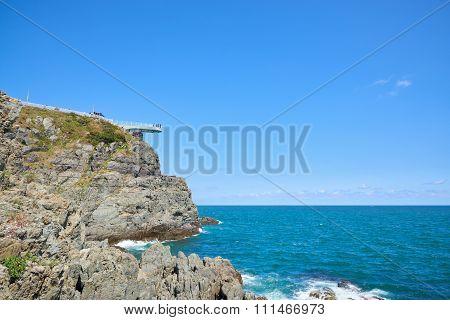 Transparent Skywalk To See Oryukdo Islands.