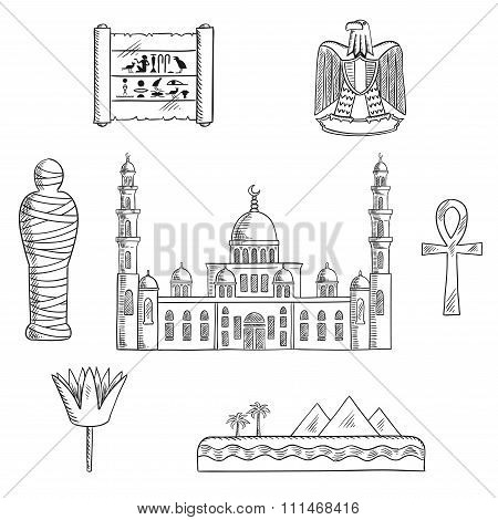 Egypt sketched travel landmarks and symbols