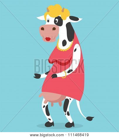 Cow old woman vector portrait illustration on background