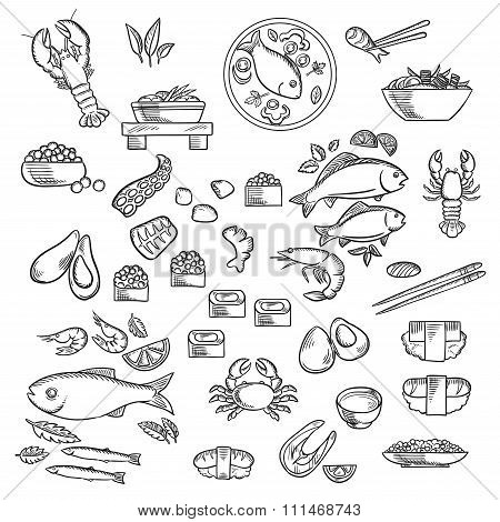 Seafood and delicatessen sketched icons