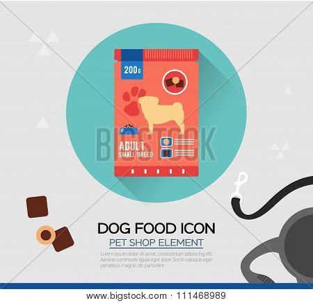 Vector icon of dog dry food.  Illustration of pet snack in pouches. Flat style.