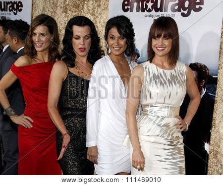 Perrey Reeves, Debi Mazar, Emmanuelle Chriqui and Carla Gugino at the HBO's 'Entourage' Season 7 Premiere held at the Paramount Studios lot in Hollywood on June 16, 2010.