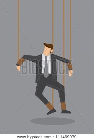 Businessman String Puppet Vector Concept Illustration