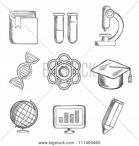 Education and science sketch icons