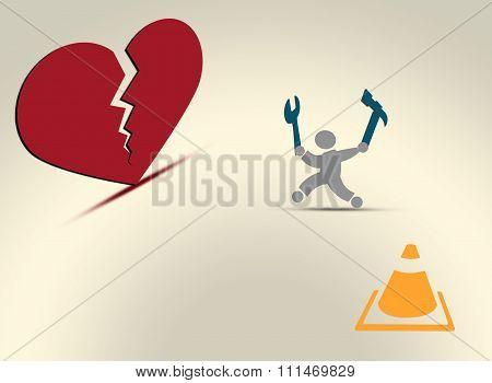Broken Heart Repair Concept