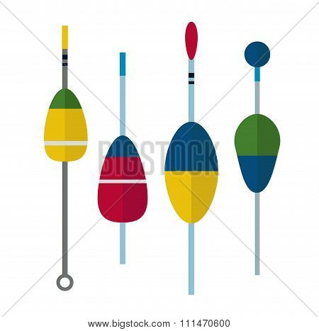 Fishing bobbers flat icons vector illustration